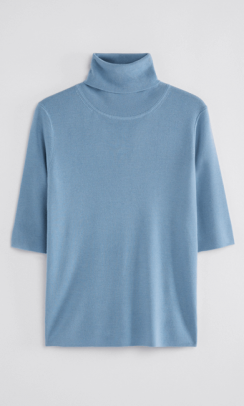FILIPPA K Merino elbow sleeve top Blå-20