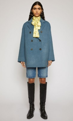 Acne Studios Double-breasted wool coat aqua blue melange