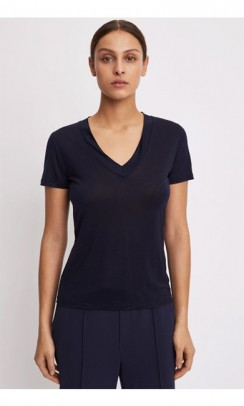 FILIPPA K Tencel deep V-neck t-shirt navy-20