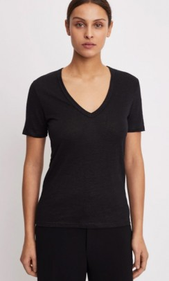 FILIPPA K Deep V-neck hør t-shirt sort-20