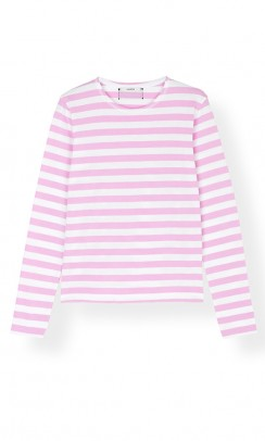 GANNI Striped cotton jersey bluse rosa med striber-20