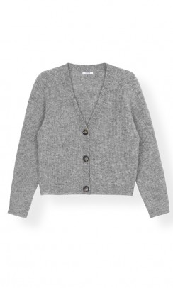 GANNI Soft wool knit cardigan grå-20