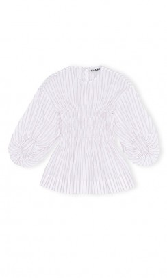 GANNI F4721 Striped Cotton Blouse