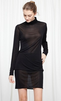 SEAMLESS BASIC Sheer roll neck sort-20