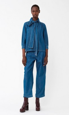 SEE BY CHLOE Lavalliere Denim Bluse-20