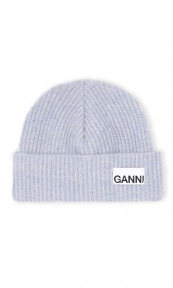 GANNI Hat recycled wool blå-20