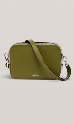 GANNI taske textured leather army grøn-20