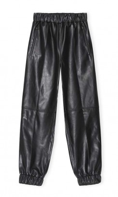 GANNI Pants lamb leather sort-20