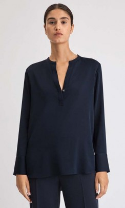 FILIPPA K Pull-On Silk bluse blå-20