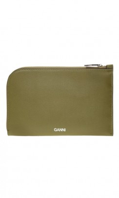 GANNI pung i textured leather army grøn-20